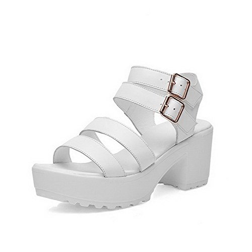 AmoonyFashion Womens Kitten Heels Soft Material Solid Buckle Open Toe Sandals White 8R9ETP1gW
