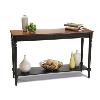 French Country Console Table in Cherry and Black Finish