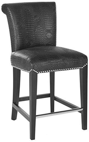 ection Seth Black Leather 25.9-inch Counter Stool ()