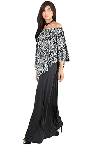 KOH KOH Plus Size Womens KOH KOH Womens Long Strapless Flowy Poncho Cocktail Evening Elegant Damask Print Cute Off Shoulder Gown Gowns Maxi Dress Dresses, Black, Extra Large XL (Cute Halloween Dress)
