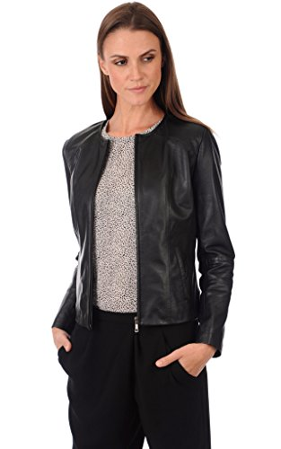 For Sheepskin Jackets Women (Sheepskin Leather Women's Bomber Biker Jacket XX-Large Black)