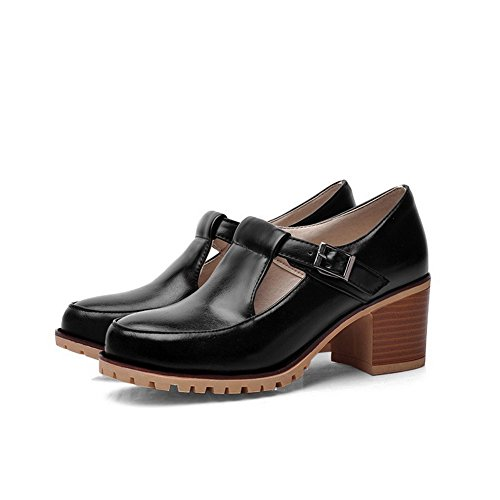 VogueZone009 Women's Soft Material Round Closed Toe Kitten Heels Buckle Solid Pumps-Shoes Black ETb8xF
