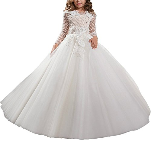 Lilis Princess Dresses Girls Long Sleeves Flower Girls Dresses First Communion Dress -