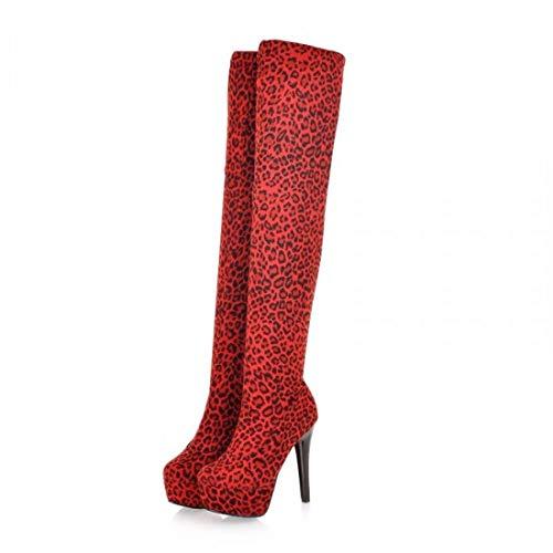 Hauts Le Aikaka Chaussures Chaud Femmes Hiver Genou Europe Sur Bottes À Talons Amérique Automne Rouge Sexy Et CwR6nCxrq