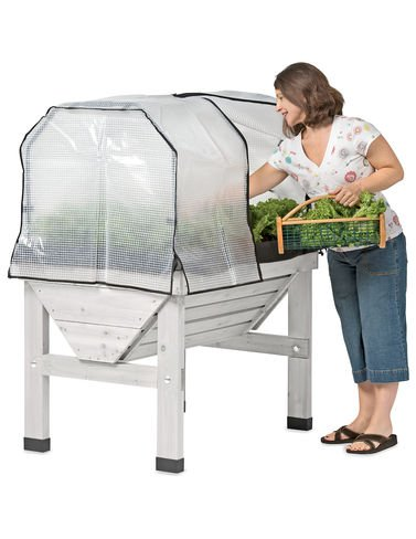 Compact VegTrug8482; Patio Garden with Covers, Whitewash by Gardener's Supply Company