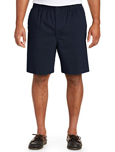 Harbor Bay by DXL Big and Tall Elastic-Waist Twill Shorts-Updated Fit Navy ()