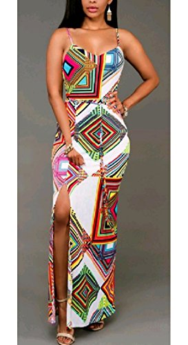 Maxi Printed Casual Sling White Pencil Coolred Women Split Slim Dress qwRtYtE