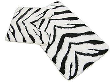 Zebra Black White Bathmat Bath Mat Pedestal Set Rug Large Thick