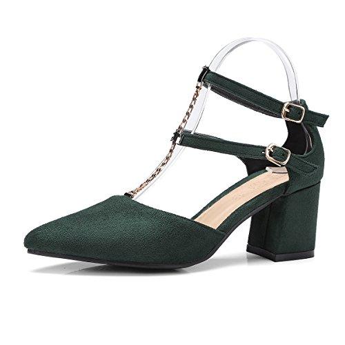 Green Señaló amp;x Tobillo Dark Tacones Toe La Bloque Mujer Sandalias Al Qin PZwxdAP