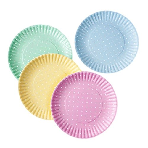 Pastel Polka Dot Picnic/Dinner Plate, 9 Inch Melamine, Set of 4, Pink, Blue, Yellow, Green (Accent Plate Green 9')