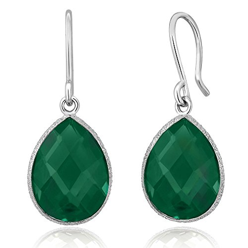 Gem Stone King 925 Solid Sterling Silver Forest Green Checkerboard Onyx 13.00 ct 16x12mm Pear Shape Dangle Earrings