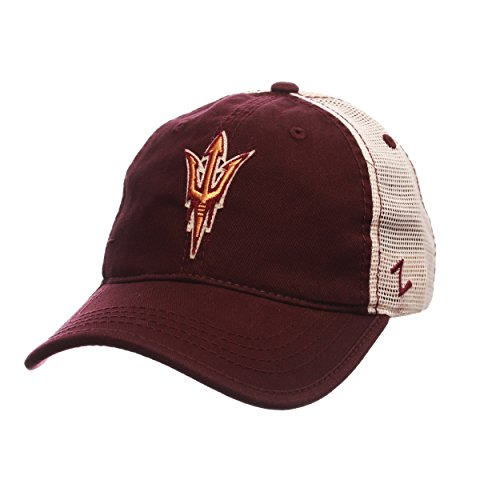 Devils State Cap Sun Arizona (NCAA Arizona State Sun Devils Men's Summertime Hat, Stone/Maroon, Adjustable)