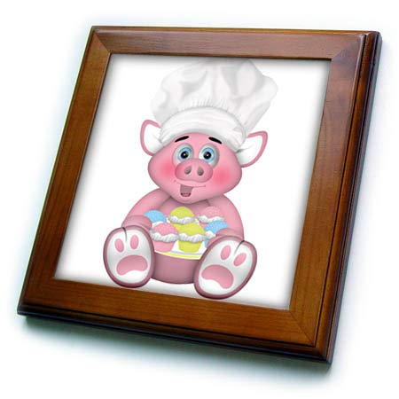 3dRose Anne Marie Baugh - Illustrations - Cute Pink Baking Chef Pig with A Plate of Cupcakes Illustration - 8x8 Framed Tile (ft_317939_1)