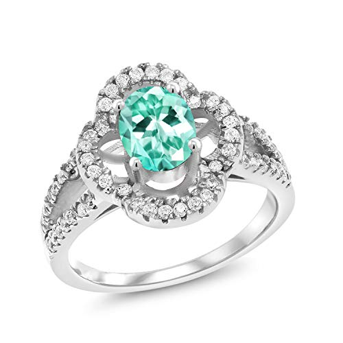 Gem Stone King 1.57 Ct Oval Blue Apatite 925 Sterling Silver Ring (Size 5) ()