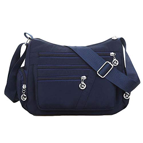 (soAR9opeoF ♠ Women Summer Crossbody Shoulder Bag,Casual Waterproof Zipper Mother Pouch Handbag Dark Blue)