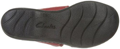 Clarks Donna Leisa Lacole Sandalo Scorrevole In Pelle Rossa