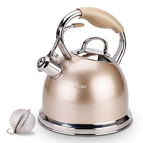 Sotya Best Teakettle Whistling Stainless Steel stove top Teapot 2.75 Quart Tea Kettle Pot Stovetop,1 free detachable anti-hot gloves and 1 Infuser Included (Champagne Color)