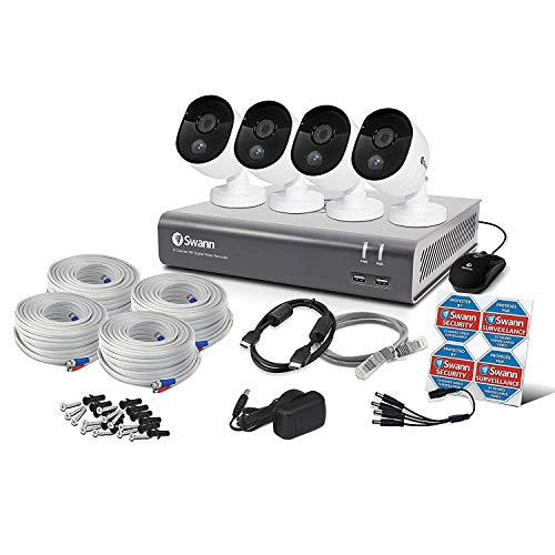 Swann 4 Camera 8 Channel 1080p DVR Security System |1TB HDD, Heat & Motion Sensing + Night Vision