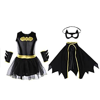MISENSE Halloween Superhero batgirl Dress Costume for girl (S)