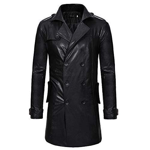 - Men's Winter Coat Sale Casual Fashion Button Long Sleeve Long Trench Leather Jacket