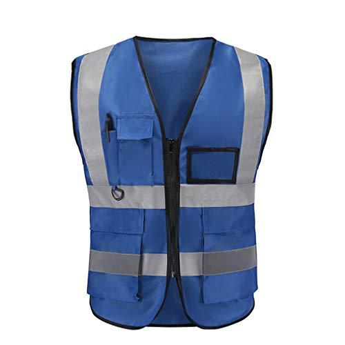 King Boutiques-Vests Ap Reflective Vest Engineering Safety Protective Clothing Traffic Warning Reflective Jacket Fluorescent Coating (Color : Blue)