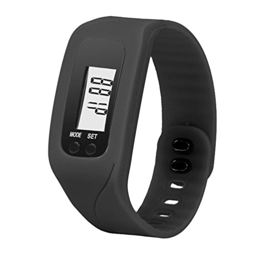 Perman Durable Digital LCD Pedometer Run Step Walking Distance Calorie Counter Watch Bracelet (Black) (Function Digital Pedometer)