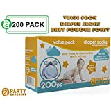Party Bargains Disposable Diaper Bags with Baby Powder Scent | 100% Biodegradable Easy-Tie Nappy Sacks for Home and Travel | 200 Count