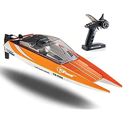 Remote Control Boat, 25 MPH Rc Boats for Adults, Rc Boat for Pools and Lakes, Low Battery & Range Signal, Auto Flip Recovery, Fastest Rc Racing Pool Boat Speed Boat Gift: Toys & Games