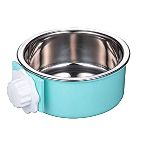IMIKE Removable Stainless Steel Crate Dog Bowl,Pets Hanging Water Food Feeder Bowl Cage Coop Cup for Dogs,Cats,Birds,Small Animals-Blue 106