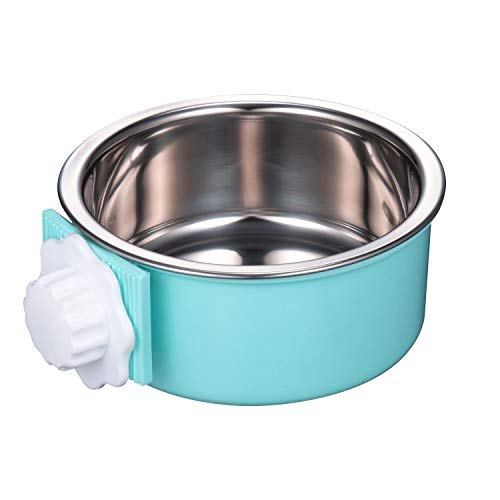 - IMIKE Removable Stainless Steel Crate Dog Bowl, Pets Hanging Water Food Feeder Bowl Cage Coop Cup for Dogs, Cats, Birds, Small Animals - Blue
