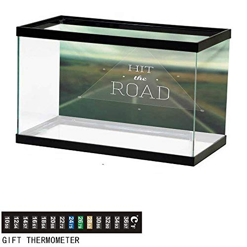 Highway Triangle (wwwhsl Aquarium Background,Adventure,Hit The Road Quote Inside a Transparent Triangle with Blurred Highway Background,Multicolor Fish Tank Backdrop 24