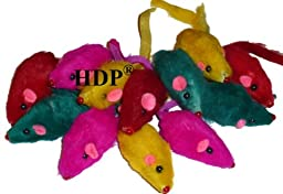 HDP Rainbow Furry Rattling Mice cat toy Size:Pack of 60