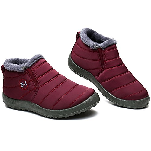 JOINFREE Unisex Winter and Snow Boots With Oxford Cloth Fully Fur Lining Wine Red 9.5 B(M) US Women (Oxfords Winter)