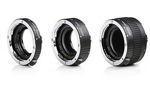 Movo MT-O68 3-Piece AF Chrome Macro Extension Tube Set for Olympus Evolt Four Thirds Mount DSLR Camera with 12mm, 20mm, 36mm Tubes