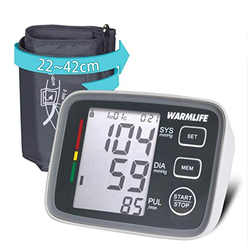 WARMLIFE Accurate Automatic Upper Arm Blood Pressure Monitor Digital BP Machine Pulse Rate Monitoring Meter with 8.8-14.1in Cuff Kit,180 Records Two Users,Speaker- FDA Approved (Classical Black) ()
