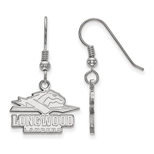 925 Sterling Silver Officially Licensed Longwood University College Small Dangle Wire Earrings by Mia Diamonds and Co.