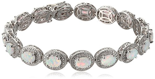 Women's Sterling Silver Created Opal Oval With White Diamond Accent Milgrain Link Bracelet, 7.5 Inches by Amazon Collection