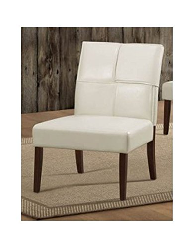 - Homelegance 1215CRS Armless Accent Chair, Cream Bi-Cast Vinyl