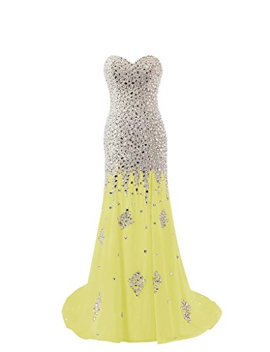 Gelb Perlen Kristall Changjie Ballkleid Abendkleider Gown Schulterfrei Formal Langes Damen wqwzTXC
