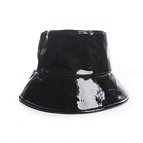 Tata Trend Flat Folding Bucket Hat with Wide Brim Patent Leather Luxury Pu Hat Portable Beach Fisherman,Black,One Size