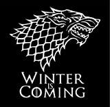 Vinyl Decal Sticker - Game of Thrones Winter is Coming - Stark Dire Wolf for wall, vehicle, computer, home decor (22 inch wide, Gloss White)