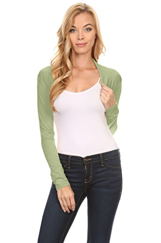 Simlu Long Sleeve Bolero Shrug For Women - Made In USA Sage Large Bolero Sage