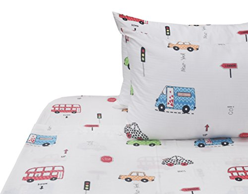 J-pinno Boys Cars Bus Double Layer Muslin Cotton Bed Sheet Set Full, Flat Sheet & Fitted Sheet & Pillowcase Natural Hypoallergenic Bedding Set Gift (2, Full)
