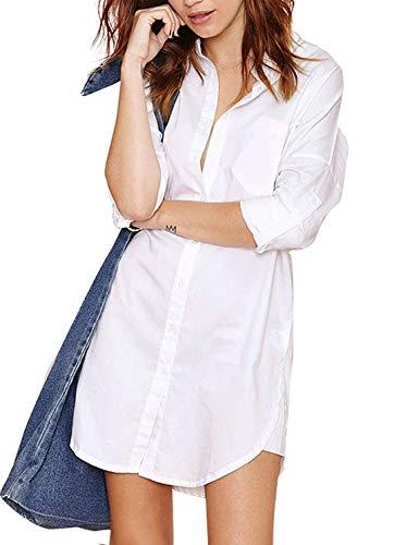 (VERO VIVA Women's Boyfriend Long Sleeve Shirt Dress Button Down Casual Tunic Top(L,White))