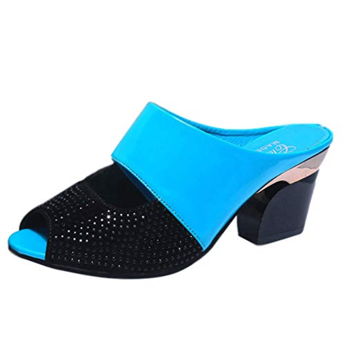 Pelle Blu Slider Strass Infradito Casual Zeppa Eleganti Scarpe Donna Tenthree Spiaggia Partito Alto Slingback Pantofole Festa Toe Peep Ragazze Estate Tacco 8wwxvqdRP