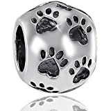 MATERIA 925 Silber Beads Kugel Element - Antik Silber Bead Pfote - Beads Tierpfoten Element für Beads Armbänder / Ketten bis 4,4mm #855