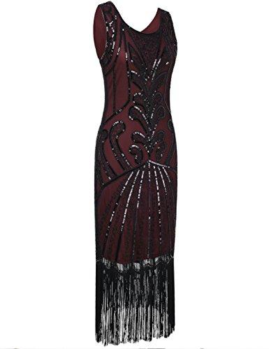 ispirato Donne Flapper Vestito Cocktail Perline Vintage 1920s Del Deco Art Borgogna PrettyGuide nAxwdqYv4A