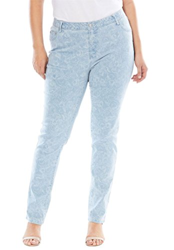 's Plus Size Tall True Fit Straight Leg Jeans - Denim Floral Contour, 22 T ()