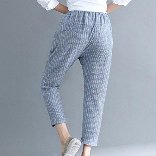 Pantaloni In 4XL Forti Pantaloni Pantaloni Larghi Libero Mambain Lino da Strisce Tempo Nove A M Taglie Donna q18qB