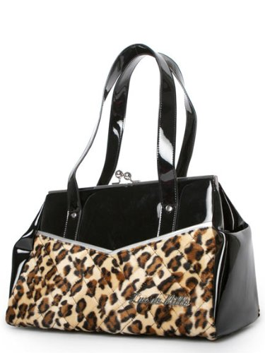 Lux De Ville FEMME FATAL KISS LOCK Black and Leopard, Bags Central